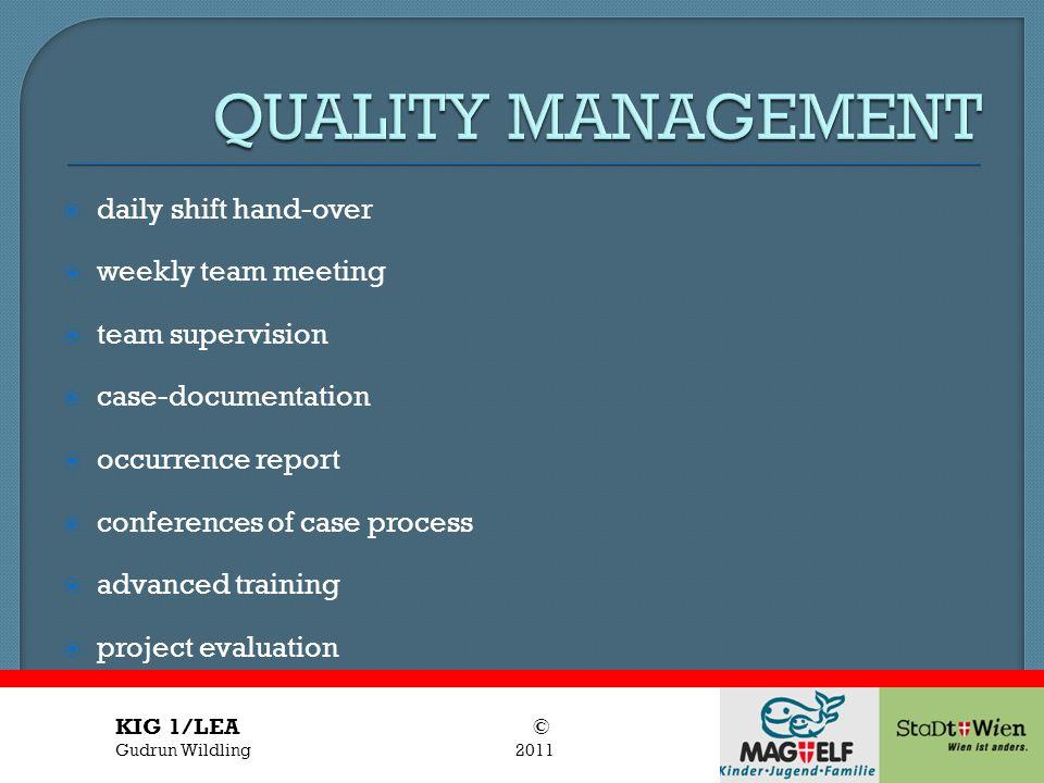 Titel des Vortrages Vortragender daily shift hand-over weekly team meeting team supervision case-documentation occurrence report conferences of case p