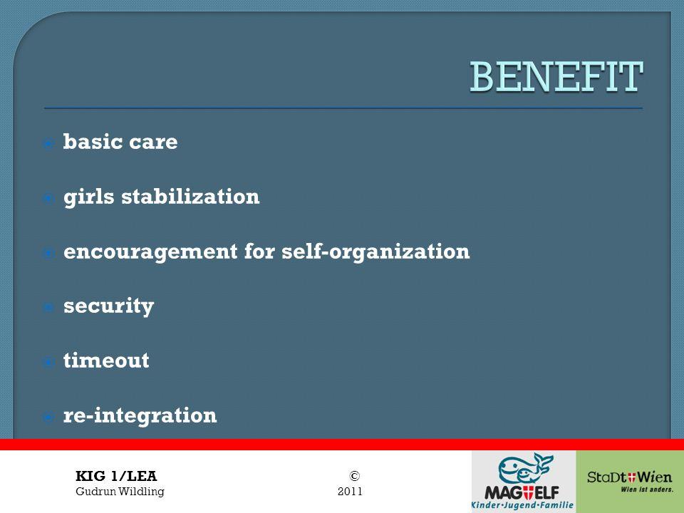 Titel des Vortrages Vortragender basic care girls stabilization encouragement for self-organization security timeout re-integration KIG 1/LEA © Gudrun