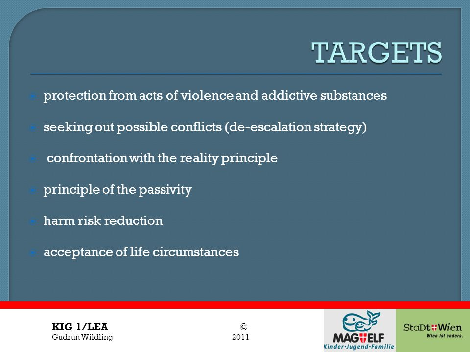 Titel des Vortrages Vortragender protection from acts of violence and addictive substances seeking out possible conflicts (de-escalation strategy) con