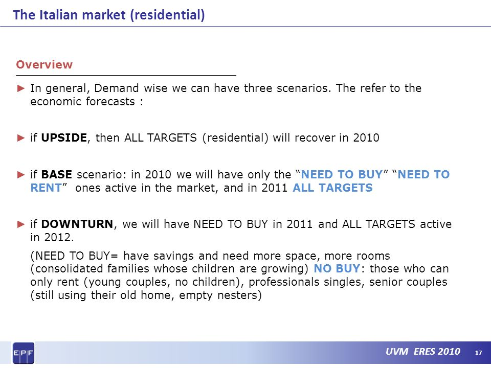 UVM ERES 2010 The Italian market (residential) 17 Overview In general, Demand wise we can have three scenarios.