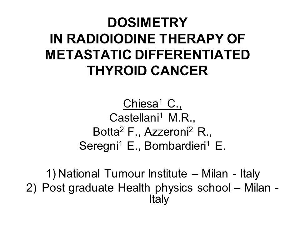 Metastases dosimetry rhTSH + 7.4 GBq 131-I de Keizer et al, EJNM (2003) 30:367-373 Median tumor dose : 26.3 [ 1.3 – 368 ] Gy Median tumor halflife : 2.7 [ 0.5 - 6.5 ] dd Tumor dose > 80 Gy only in 5/25 tumors