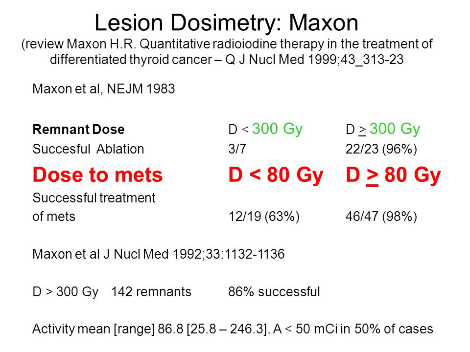 Lesion Dosimetry: Maxon (review Maxon H.R. Quantitative radioiodine therapy in the treatment of differentiated thyroid cancer – Q J Nucl Med 1999;43_3