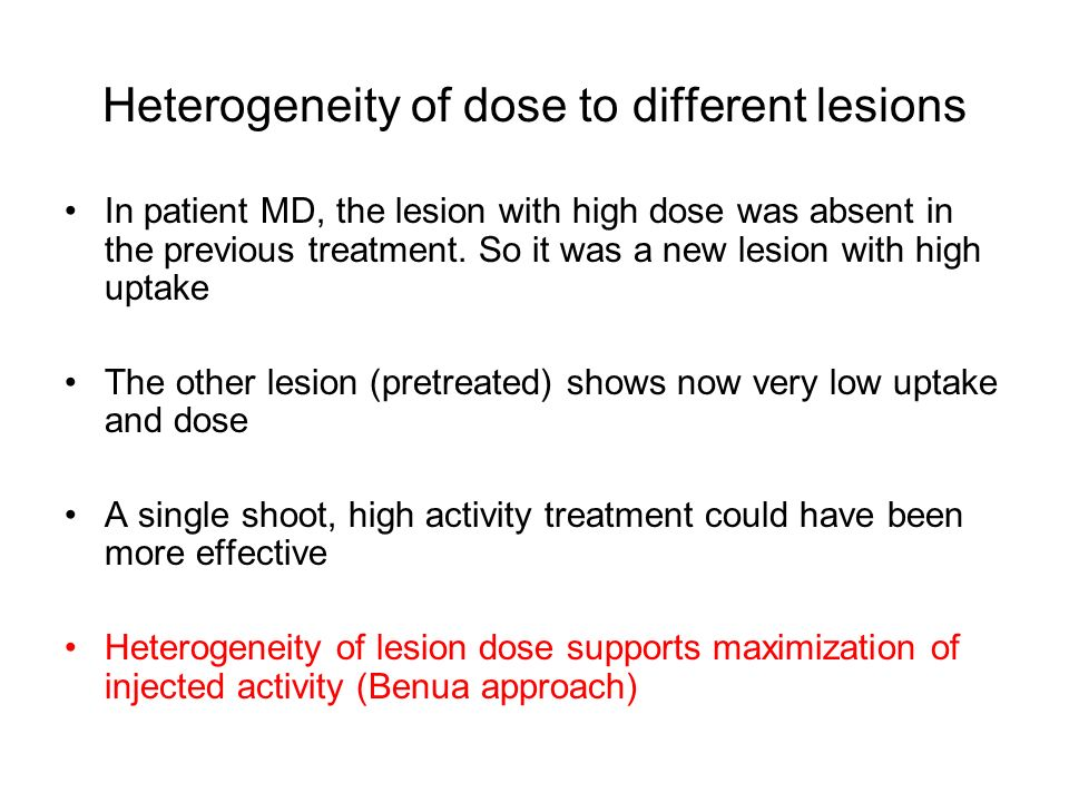 Heterogeneity of dose to different lesions In patient MD, the lesion with high dose was absent in the previous treatment. So it was a new lesion with