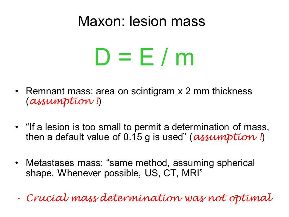 Lesion Dosimetry: Maxon (review Maxon H.R.