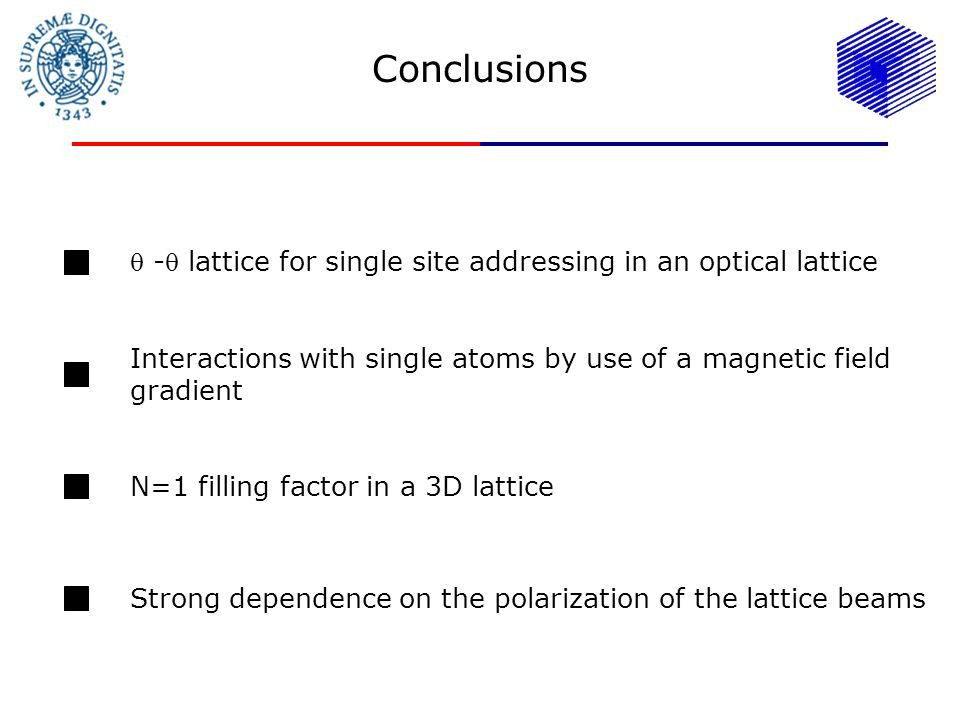 Conclusions - lattice for single site addressing in an optical lattice Interactions with single atoms by use of a magnetic field gradient N=1 filling factor in a 3D lattice Strong dependence on the polarization of the lattice beams