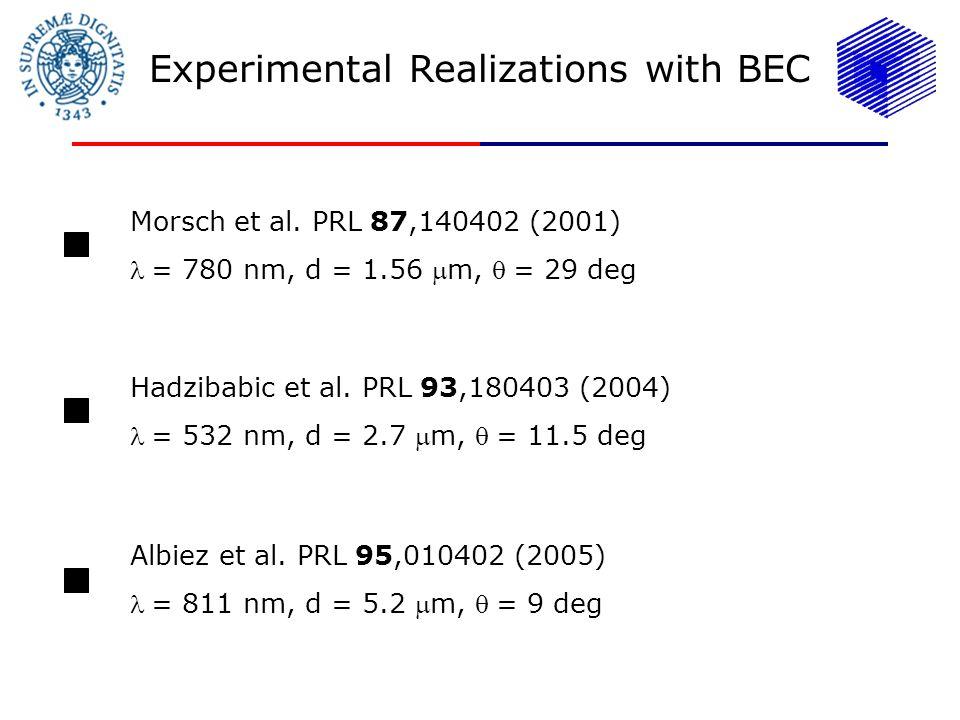 Experimental Realizations with BEC Morsch et al. PRL 87,140402 (2001) = 780 nm, d = 1.56 m, = 29 deg Hadzibabic et al. PRL 93,180403 (2004) = 532 nm,