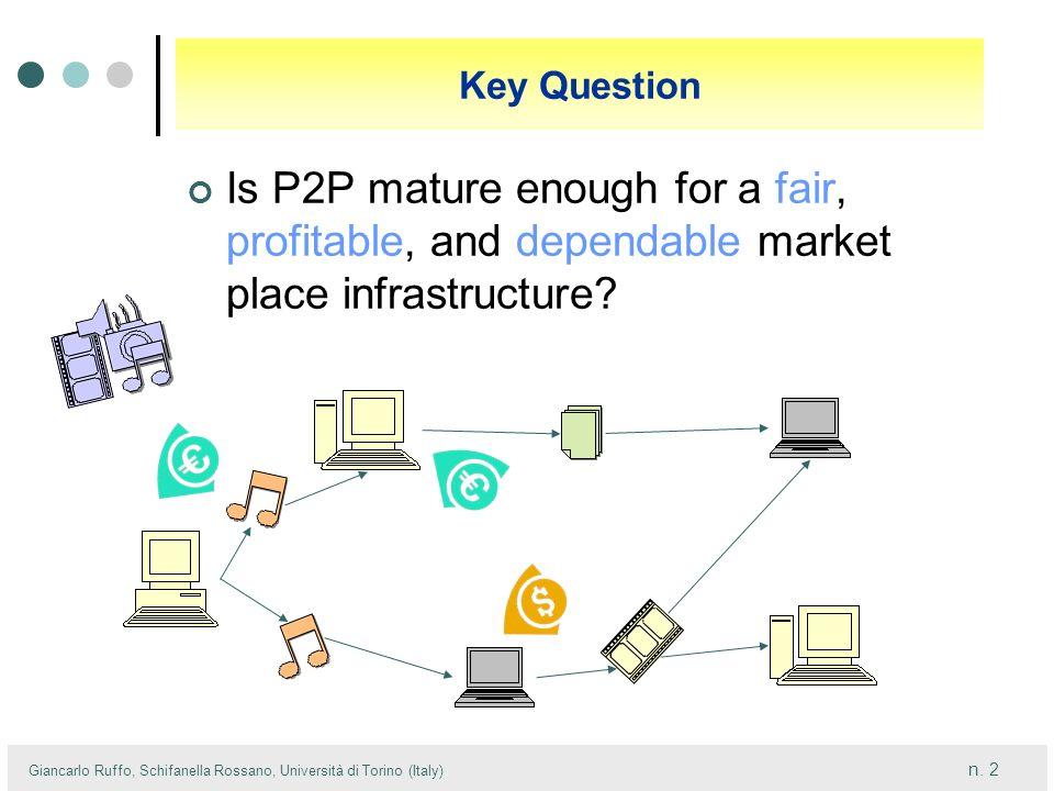 n. 2 Giancarlo Ruffo, Schifanella Rossano, Università di Torino (Italy) Key Question Is P2P mature enough for a fair, profitable, and dependable marke