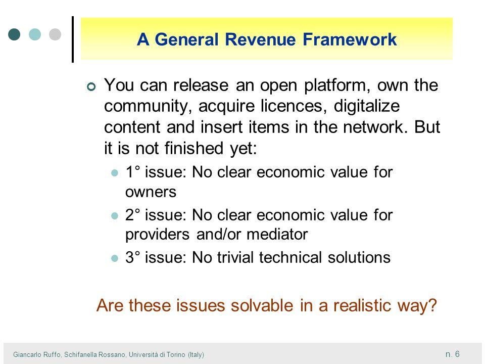 n. 6 Giancarlo Ruffo, Schifanella Rossano, Università di Torino (Italy) A General Revenue Framework You can release an open platform, own the communit