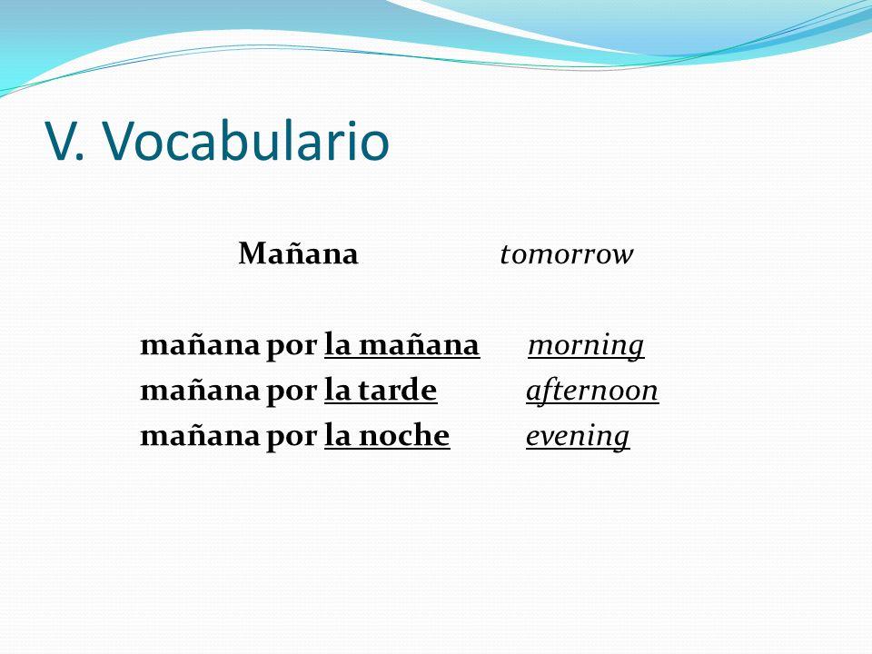 V. Vocabulario Mañana tomorrow mañana por la mañana morning mañana por la tarde afternoon mañana por la noche evening