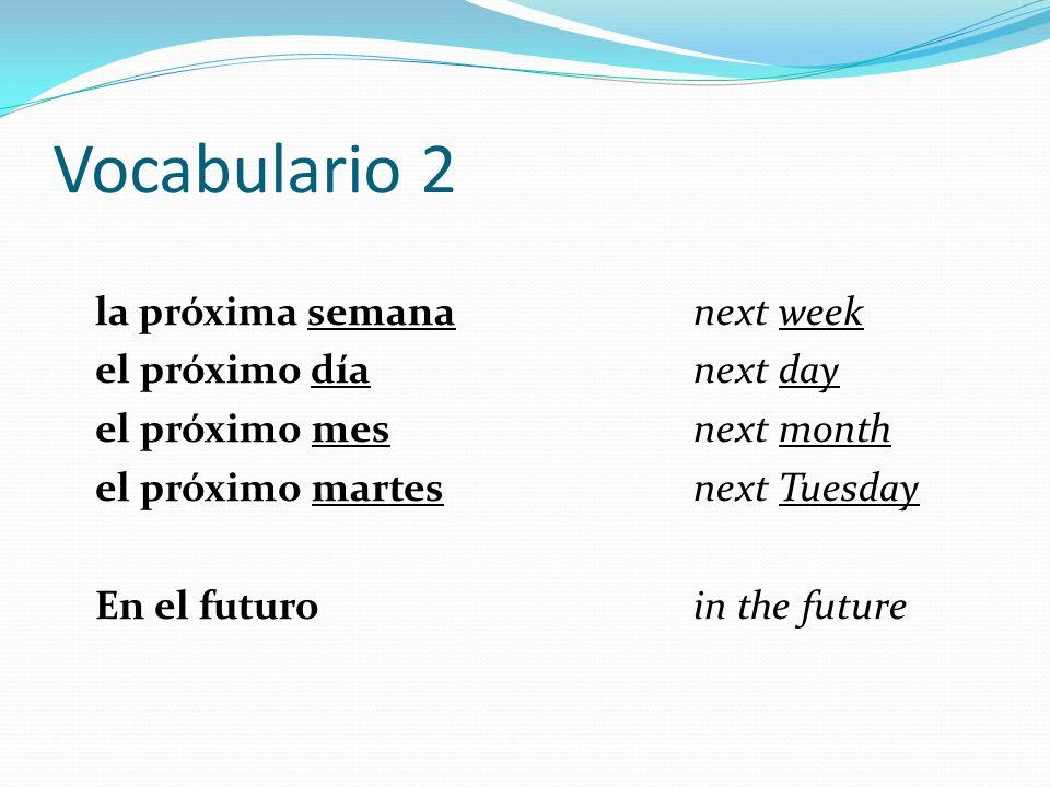 Vocabulario 2 la próxima semana next week el próximo día next day el próximo mes next month el próximo martes next Tuesday En el futuroin the future
