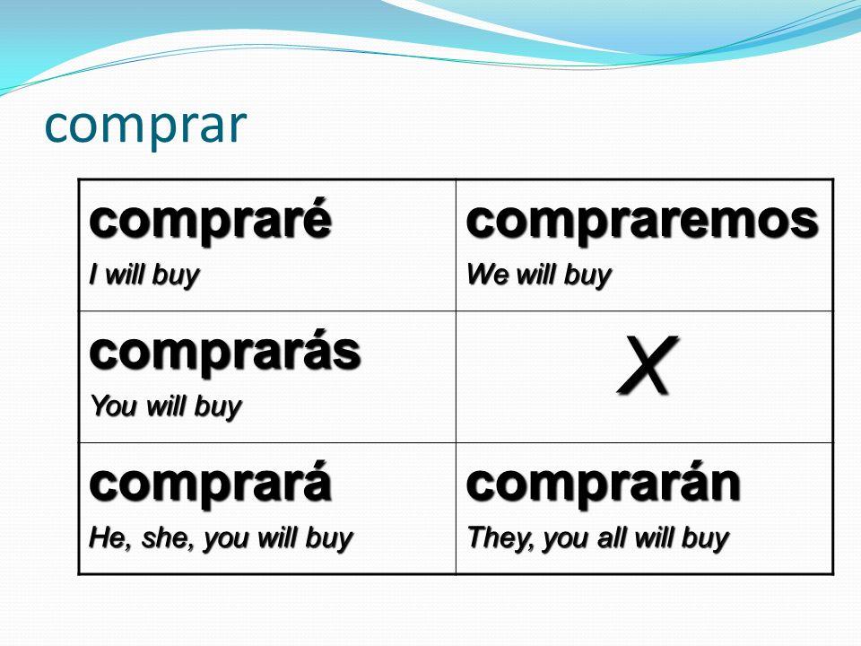 comprar compraré I will buy compraremos We will buy comprarás You will buy X comprará He, she, you will buy comprarán They, you all will buy
