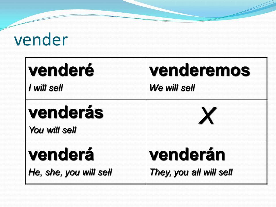 vender venderé I will sell venderemos We will sell venderás You will sell X venderá He, she, you will sell venderán They, you all will sell