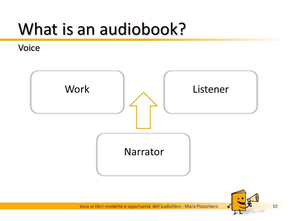 What is an audiobook? Voice 9Voce ai libri: modalità e opportunità dellaudiolibro - Mara Pizzochero …read aloud by an actor, a narrator or a speaker…