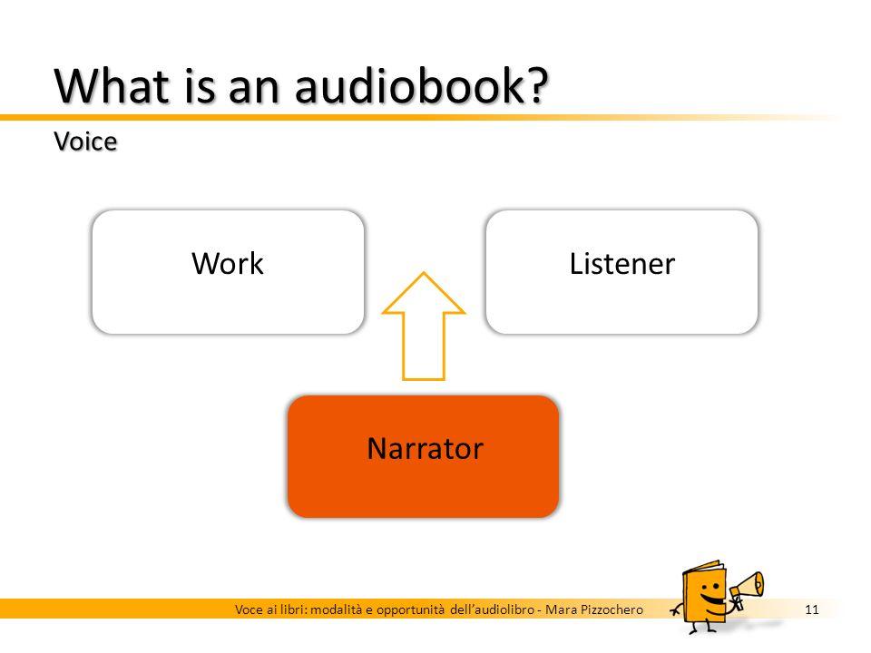 What is an audiobook? Voice 10Voce ai libri: modalità e opportunità dellaudiolibro - Mara Pizzochero Work Narrator Listener