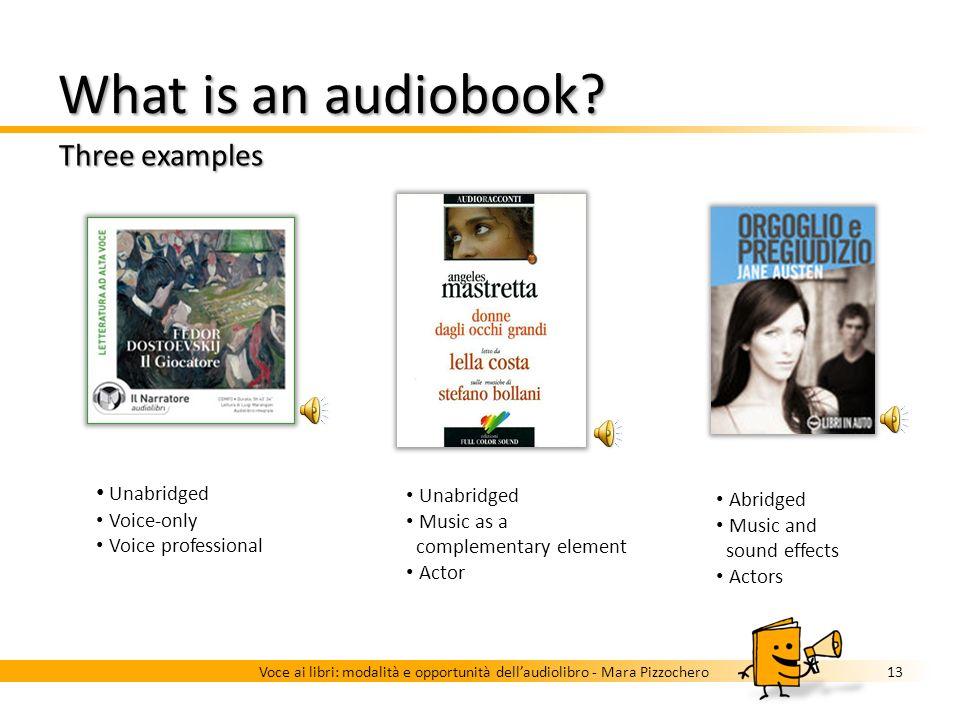 What is an audiobook? Voice 12Voce ai libri: modalità e opportunità dellaudiolibro - Mara Pizzochero Author Unbiased interpretation Unprofessional rea