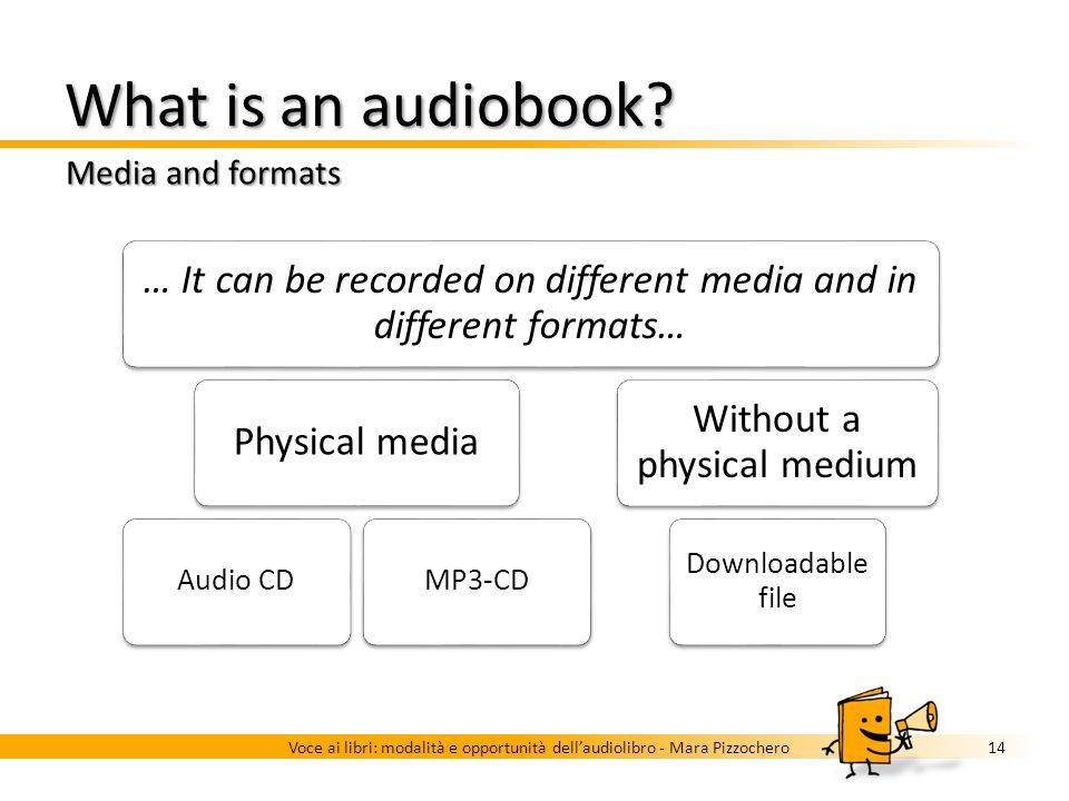 What is an audiobook? Three examples 13Voce ai libri: modalità e opportunità dellaudiolibro - Mara Pizzochero Unabridged Voice-only Voice professional