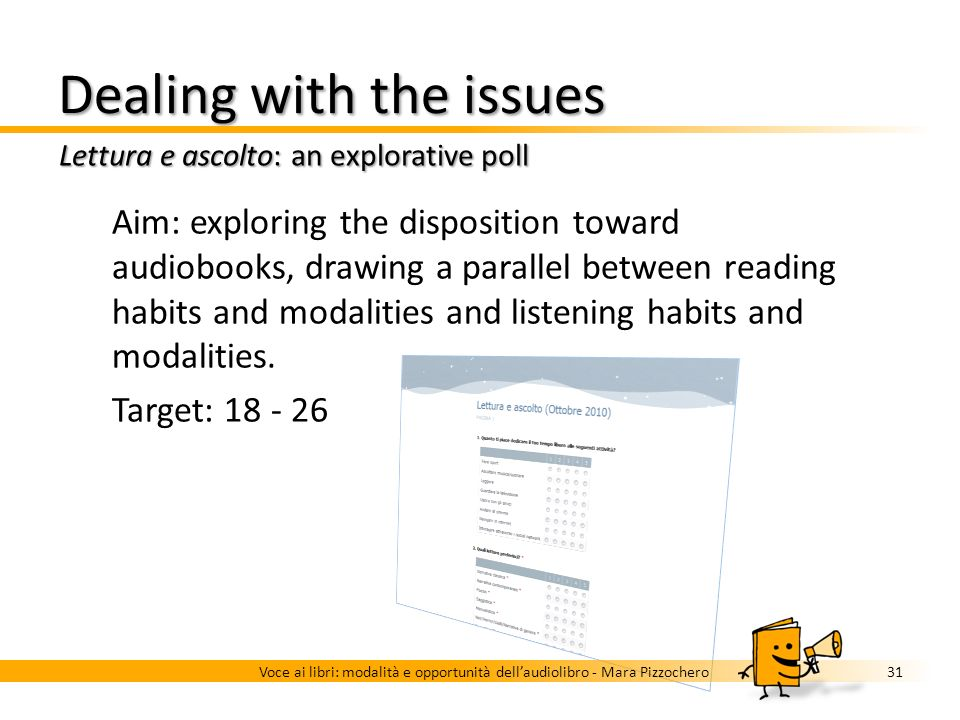 Dealing with the issues Audiobook use modalities across countries 30Voce ai libri: modalità e opportunità dellaudiolibro - Mara Pizzochero Background
