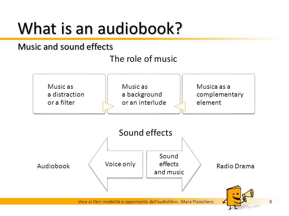What is an audiobook? Music and sound effects 7Voce ai libri: modalità e opportunità dellaudiolibro - Mara Pizzochero …it can include music and/or sou