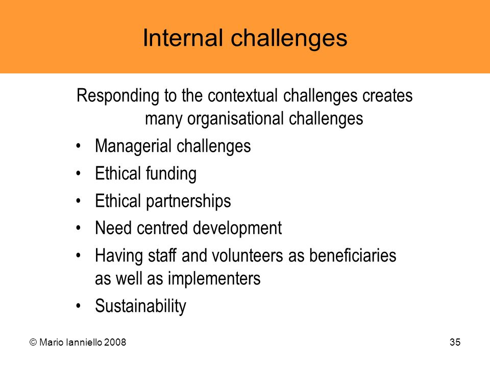 © Mario Ianniello 200835 Internal challenges Responding to the contextual challenges creates many organisational challenges Managerial challenges Ethi