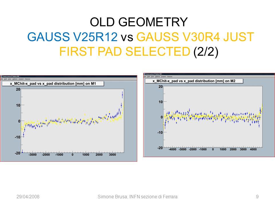 OLD GEOMETRY GAUSS V25R12 vs GAUSS V30R4 JUST FIRST PAD SELECTED (2/2) 29/04/2008Simone Brusa, INFN sezione di Ferrara9