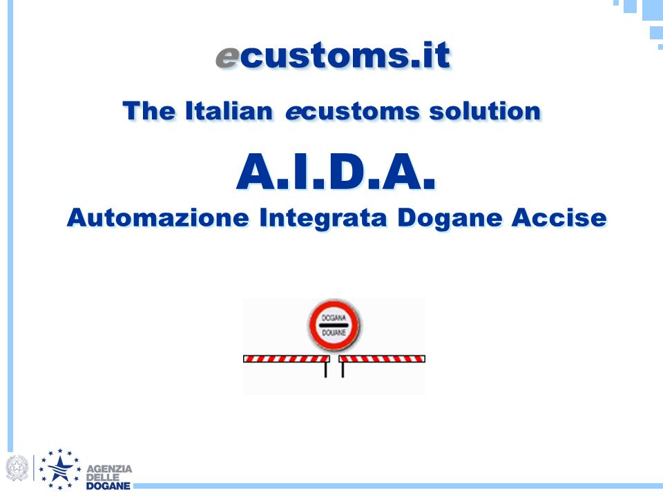 A.I.D.A. Automazione Integrata Dogane Accise e customs.it The Italian ecustoms solution