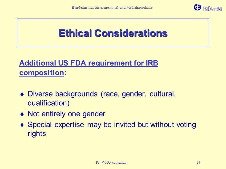 Bundesinstitut für Arzneimittel und Medizinprodukte Pt WHO-consultant 14 Ethical Considerations Additional US FDA requirement for IRB composition : Di