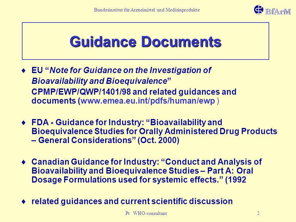 Bundesinstitut für Arzneimittel und Medizinprodukte Pt WHO-consultant 2 Guidance Documents EU Note for Guidance on the Investigation of Bioavailabilit
