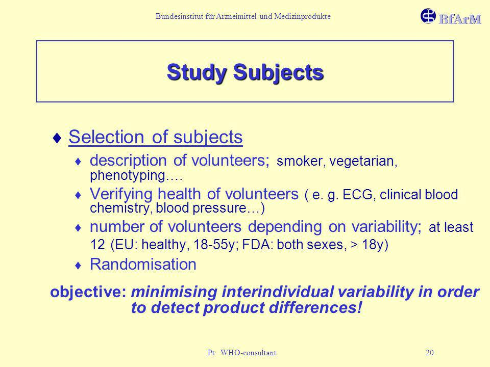 Bundesinstitut für Arzneimittel und Medizinprodukte Pt WHO-consultant 20 Study Subjects Selection of subjects description of volunteers; smoker, veget