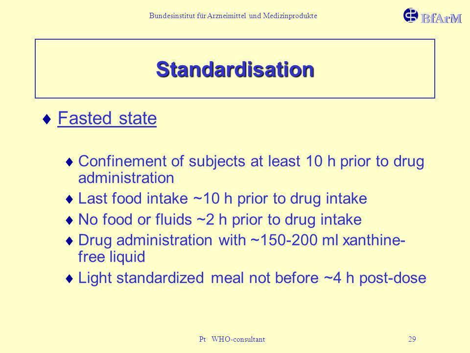 Bundesinstitut für Arzneimittel und Medizinprodukte Pt WHO-consultant 29 Standardisation Fasted state Confinement of subjects at least 10 h prior to d