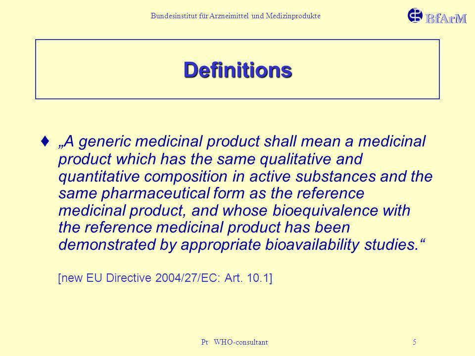 Bundesinstitut für Arzneimittel und Medizinprodukte Pt WHO-consultant 5 Definitions A generic medicinal product shall mean a medicinal product which h