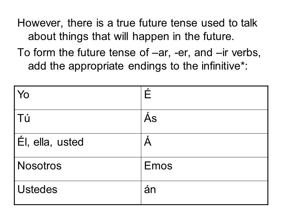 However, there is a true future tense used to talk about things that will happen in the future. To form the future tense of –ar, -er, and –ir verbs, a