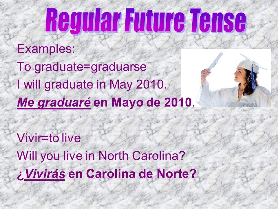Examples: To graduate=graduarse I will graduate in May 2010. Me graduaré en Mayo de 2010. Vivir=to live Will you live in North Carolina? ¿Vivirás en C