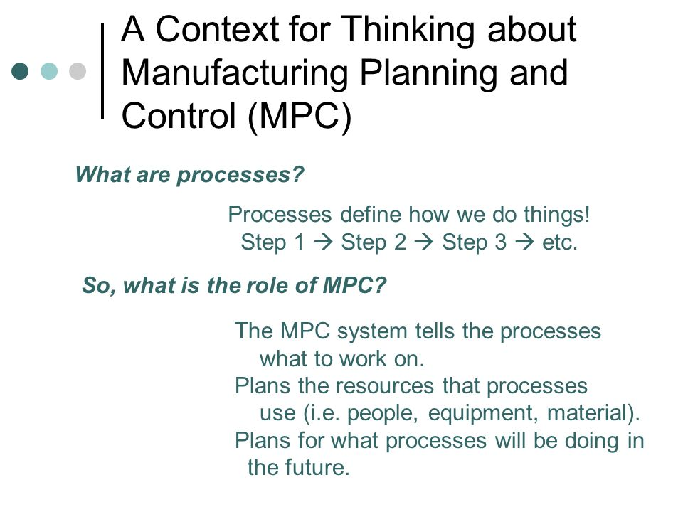 A Context for Thinking about Manufacturing Planning and Control (MPC) What are processes? Processes define how we do things! Step 1 Step 2 Step 3 etc.