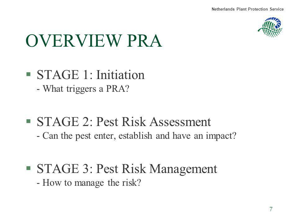 Netherlands Plant Protection Service 7 OVERVIEW PRA §STAGE 1: Initiation - What triggers a PRA? §STAGE 2: Pest Risk Assessment - Can the pest enter, e