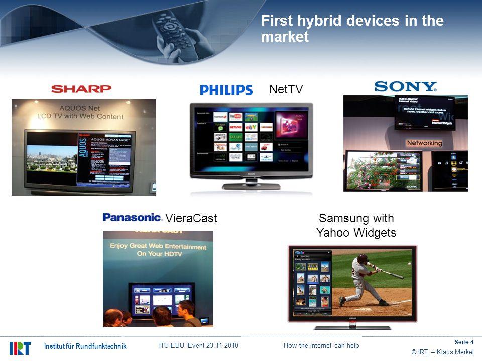 © IRT – Klaus Merkel Institut für Rundfunktechnik ITU-EBU Event 23.11.2010 How the internet can help Seite 4 VieraCastSamsung with Yahoo Widgets NetTV