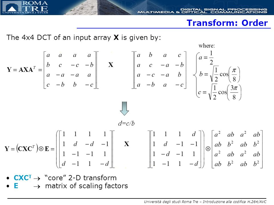 Università degli studi Roma Tre – Introduzione alla codifica H.264/AVC Transform: Order The 4x4 DCT of an input array X is given by: CXC T core 2-D tr