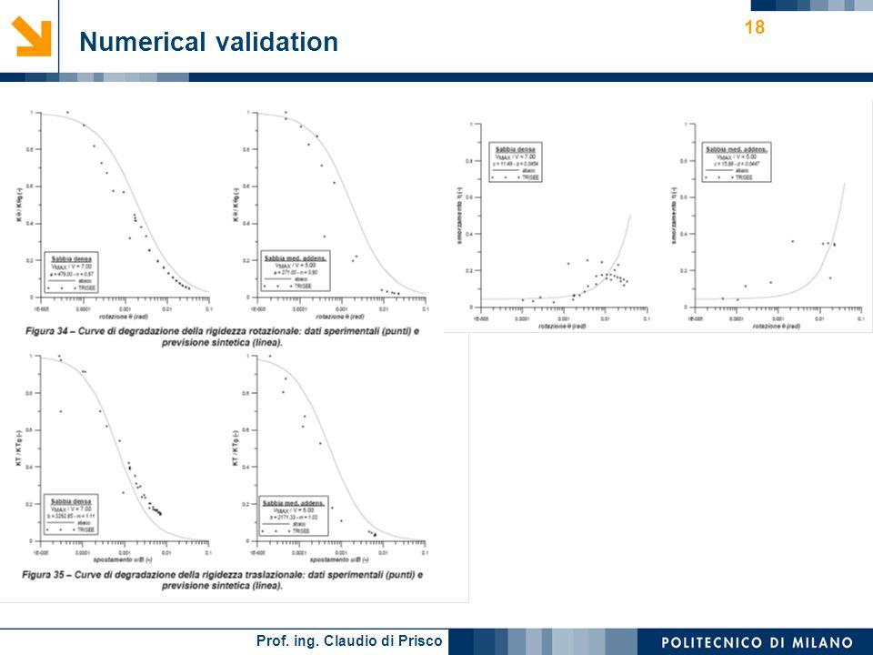 Prof. ing. Claudio di Prisco 18 Numerical validation