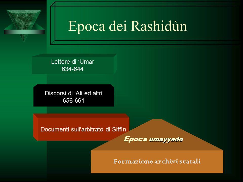 Epoca dei Rashidùn Lettere di Umar 634-644 Discorsi di Ali ed altri 656-661 Documenti sullarbitrato di Siffìn Formazione archivi statali umayyade Epoc