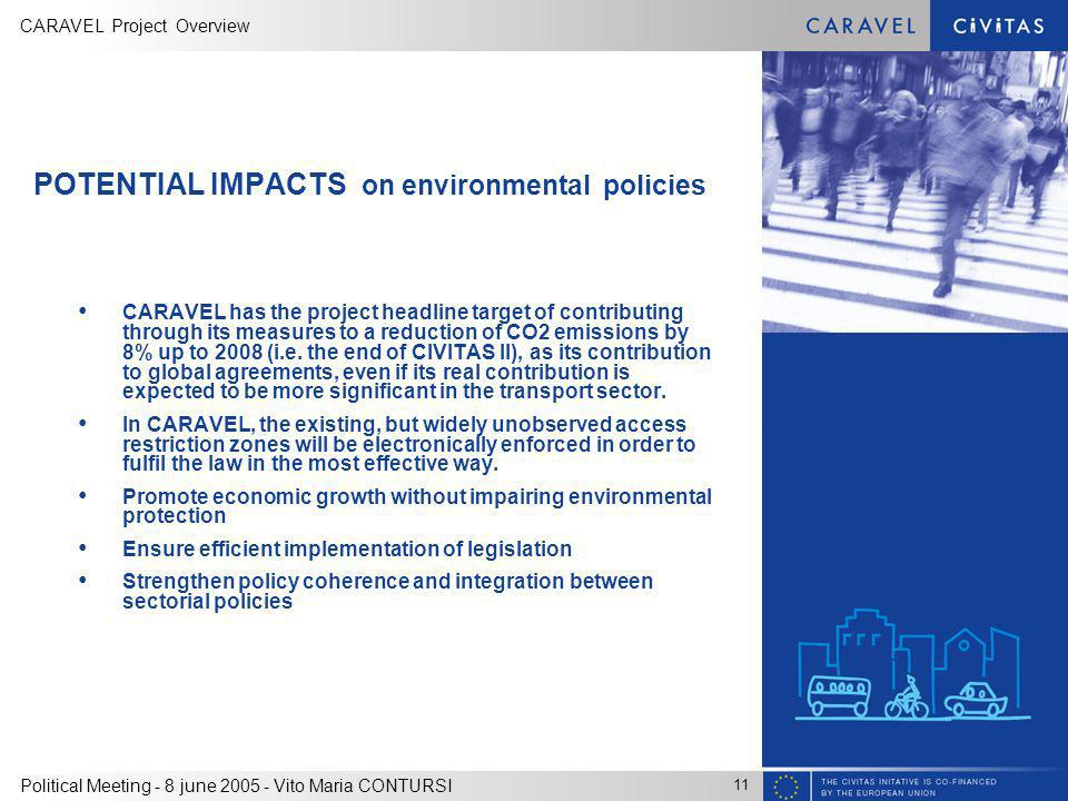 CARAVEL Project Overview 11 Political Meeting - 8 june 2005 - Vito Maria CONTURSI POTENTIAL IMPACTS on environmental policies CARAVEL has the project headline target of contributing through its measures to a reduction of CO2 emissions by 8% up to 2008 (i.e.