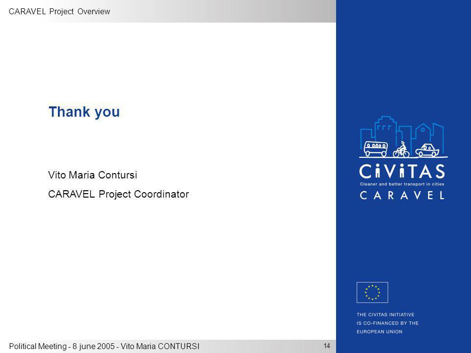 CARAVEL Project Overview 14 Political Meeting - 8 june 2005 - Vito Maria CONTURSI Thank you Vito Maria Contursi CARAVEL Project Coordinator