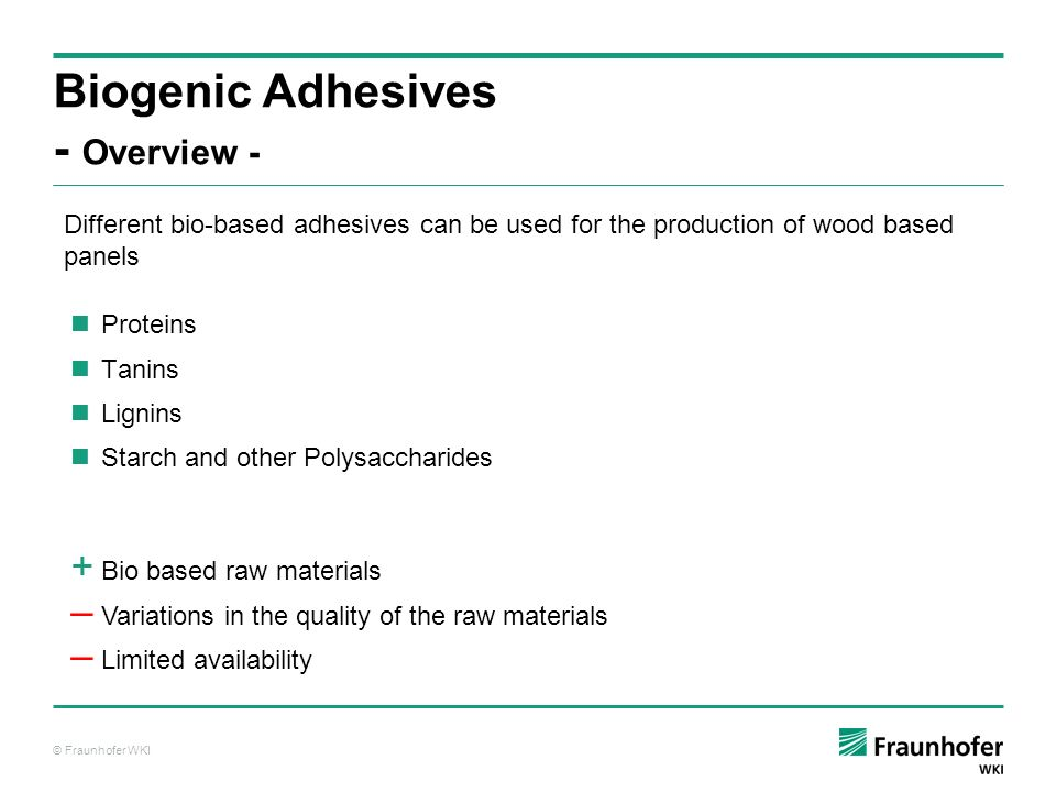 © Fraunhofer WKI Proteins Tanins Lignins Starch and other Polysaccharides Biogenic Adhesives - Overview - Different bio-based adhesives can be used fo