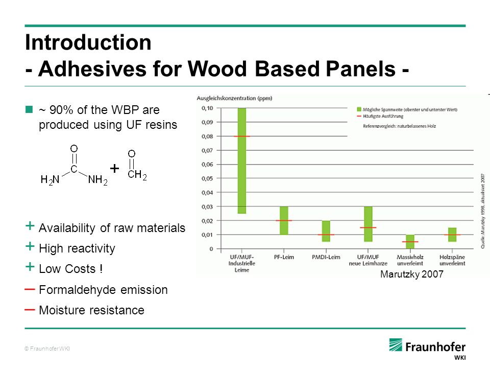 © Fraunhofer WKI Process Engineering Raw materials Flake drying Hot press conditions Density profile Various parameters of the production process of wood based panels influence the formaldehyde emission + Easy to implement May slow down production process or increase the costs