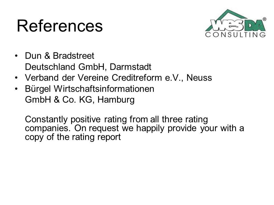 References Dun & Bradstreet Deutschland GmbH, Darmstadt Verband der Vereine Creditreform e.V., Neuss Bürgel Wirtschaftsinformationen GmbH & Co. KG, Ha