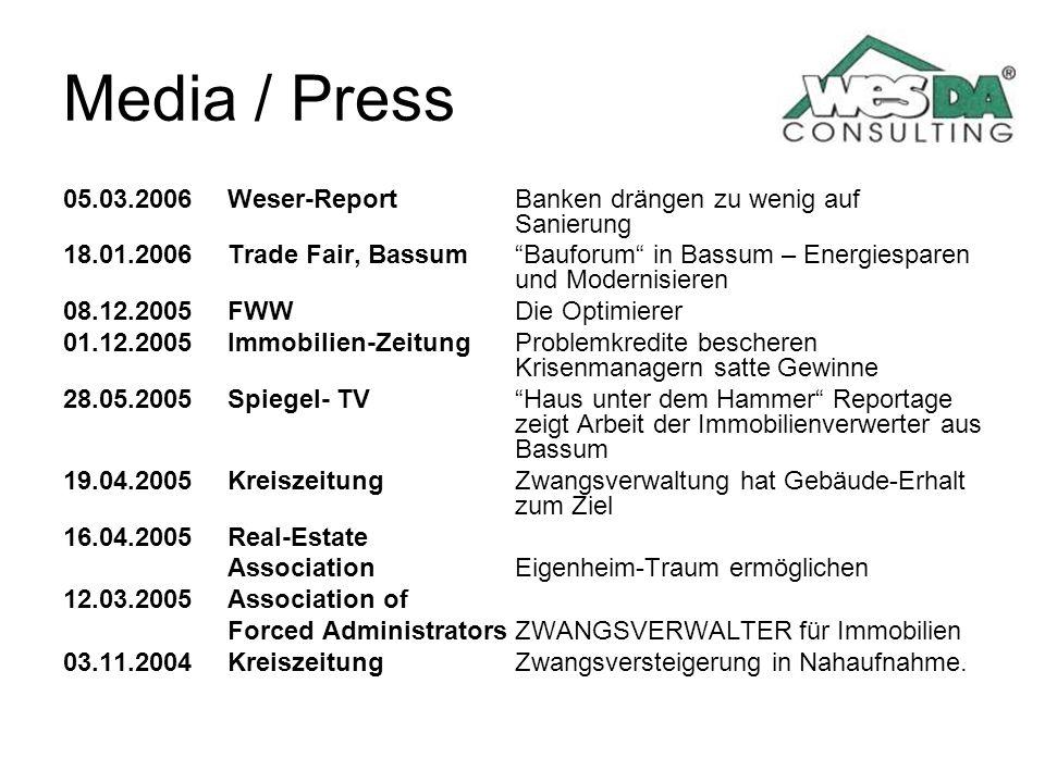Media / Press 05.03.2006Weser-ReportBanken drängen zu wenig auf Sanierung 18.01.2006Trade Fair, BassumBauforum in Bassum – Energiesparen und Modernisi