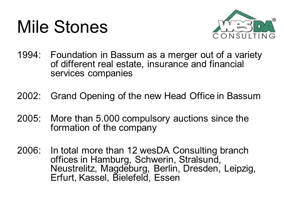 Mile Stones 1994: Foundation in Bassum as a merger out of a variety of different real estate, insurance and financial services companies 2002: Grand O
