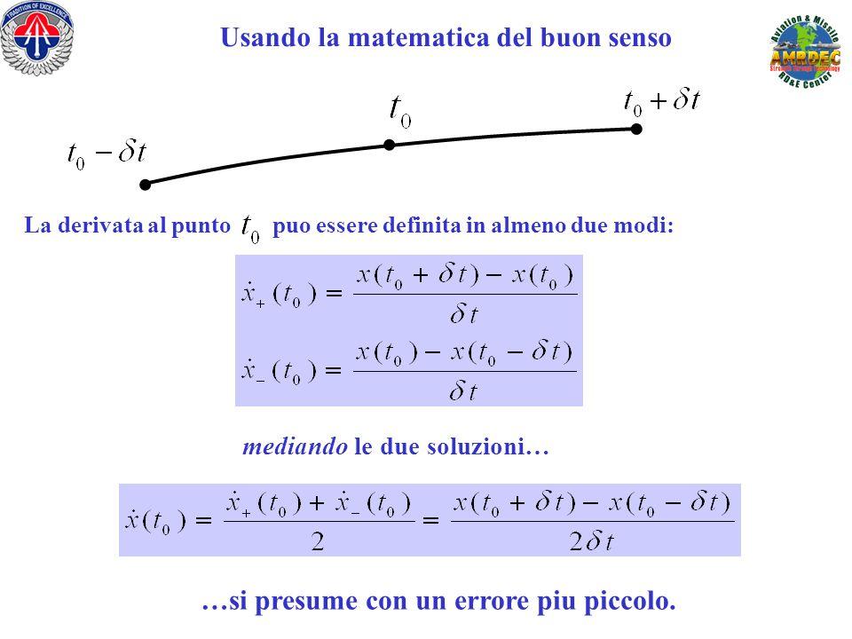 Usando la matematica del buon senso La derivata al punto puo essere definita in almeno due modi: mediando le due soluzioni…... …si presume con un erro