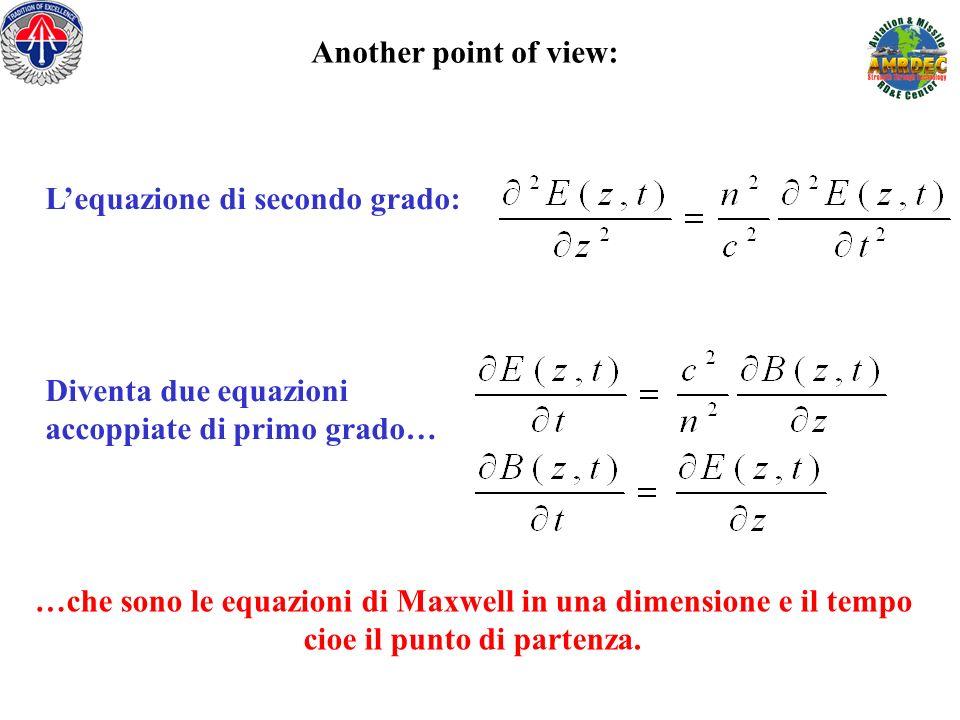 Another point of view: Lequazione di secondo grado: Diventa due equazioni accoppiate di primo grado… …che sono le equazioni di Maxwell in una dimensio
