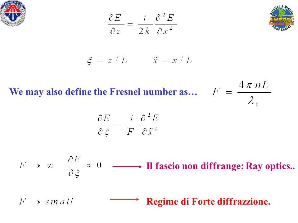We may also define the Fresnel number as… Il fascio non diffrange: Ray optics.. Regime di Forte diffrazzione.