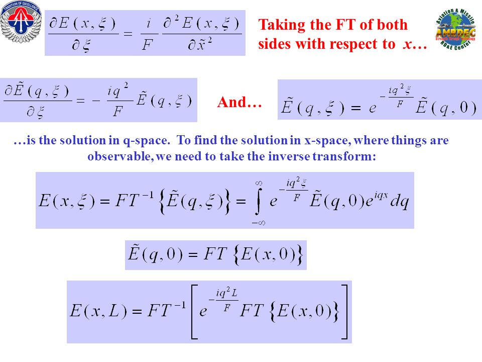 …is the solution in q-space. To find the solution in x-space, where things are observable, we need to take the inverse transform: Taking the FT of bot