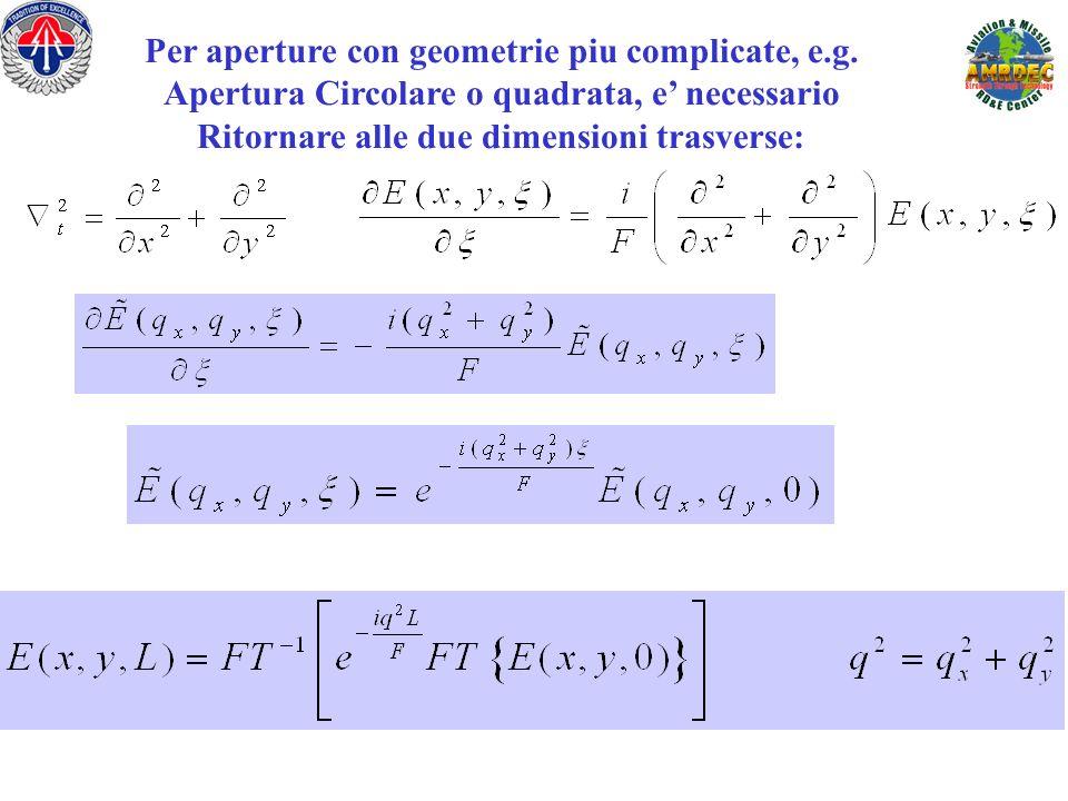 Per aperture con geometrie piu complicate, e.g. Apertura Circolare o quadrata, e necessario Ritornare alle due dimensioni trasverse: